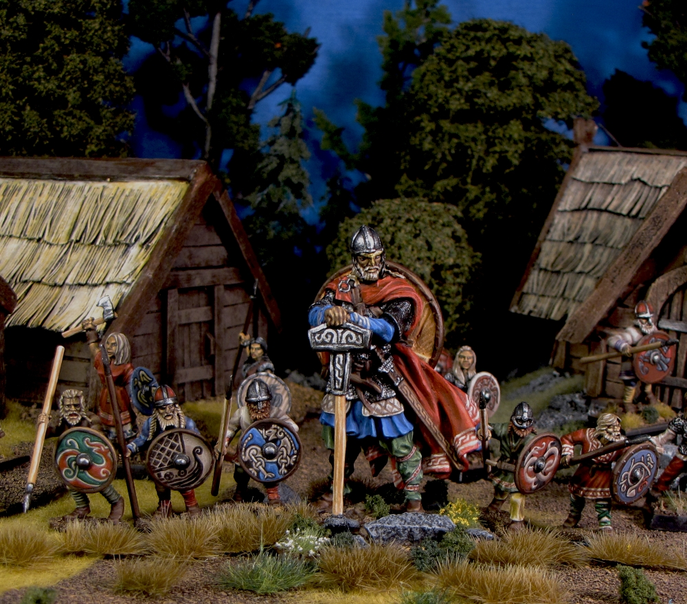 Thor gathers his host 28mm miniatures from Gripping Beast and some random eBay 54mm viking painted by Neldoreth - An Hour of Wolves & Shattered Shields