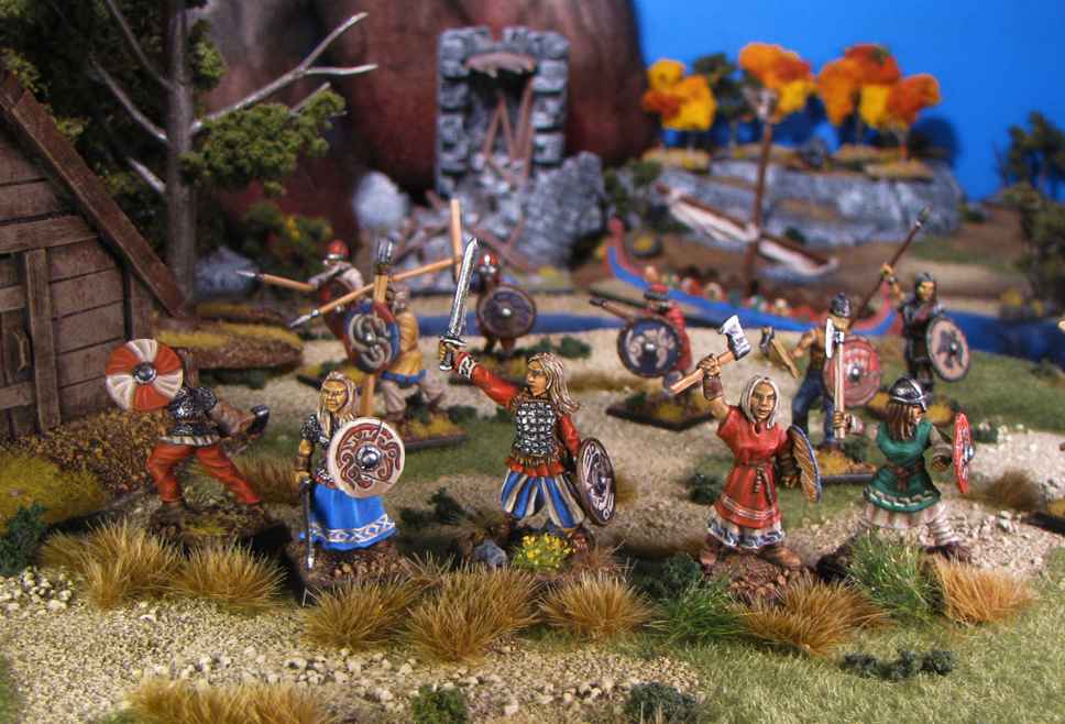 Freydis and her Shieldmaiden 28mm miniatures from Bad Squiddo Games painted by Neldoreth - An Hour of Wolves & Shattered Shields