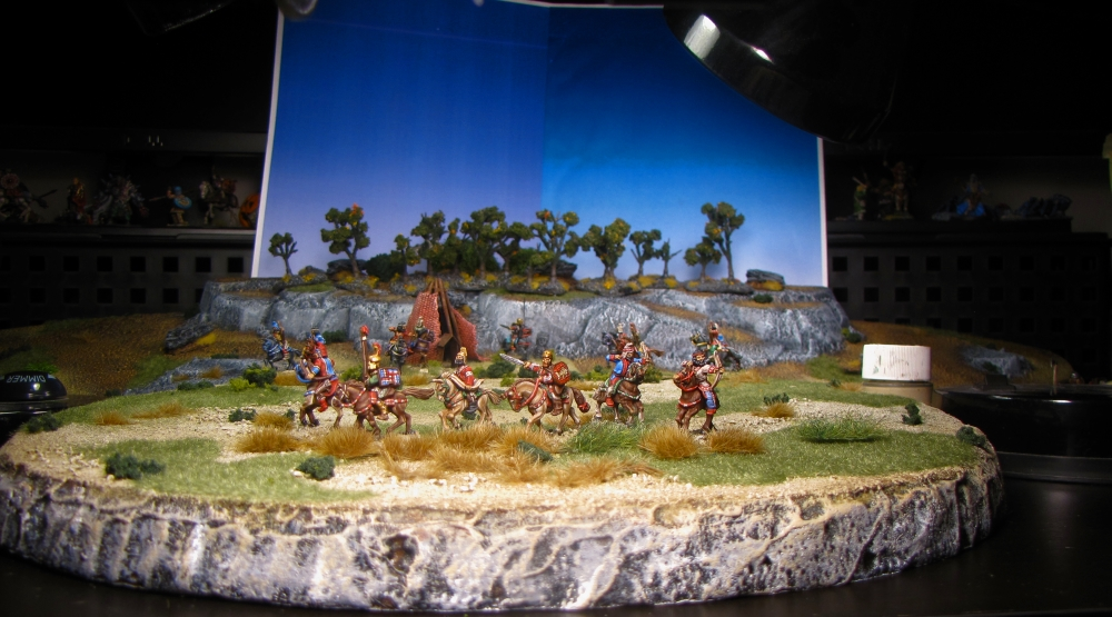 Skythians in 15mm miniature staging shot from Old Glory 15s painted by Neldoreth - An Hour of Wolves & Shattered Shields