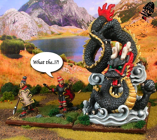 Chinese Warring States mythical Chinese dragon with Qin javelinmen from Uknown painted by Neldoreth - An Hour of Wolves & Shattered Shields