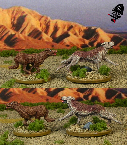 Ebob-sculpted hounds from Crusader Miniatures painted by Neldoreth - An Hour of Wolves & Shattered Shields