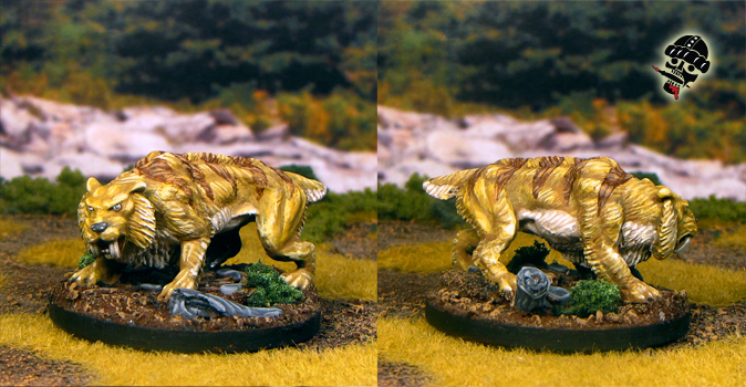 Saber Tooth Tiger from Reaper Miniatures painted by Neldoreth - An Hour of Wolves & Shattered Shields