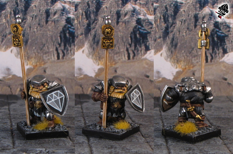 Dwarf army standard bearer from Mantic Games painted by Neldoreth - An Hour of Wolves & Shattered Shields