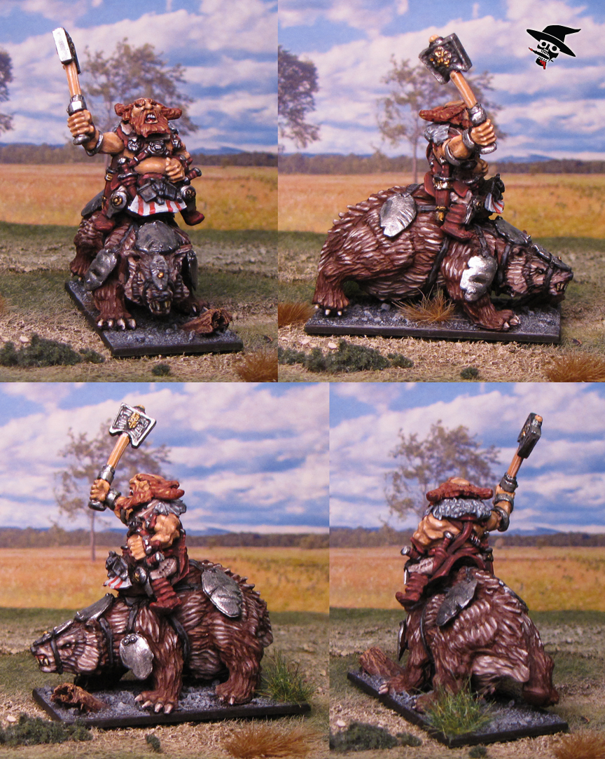 Dwarf Badger Rider from Mantic Games painted by Neldoreth - An Hour of Wolves & Shattered Shields