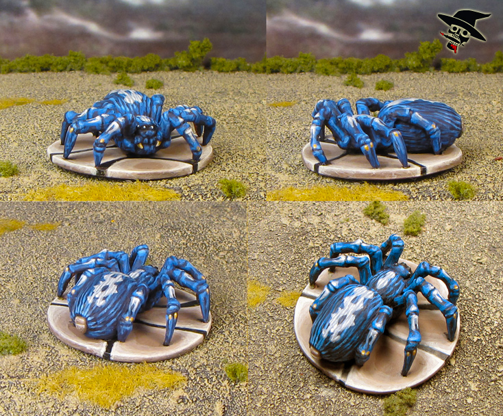 Mice & Mystics giant blue cobalt tarantula spider from Plaid Hat Games painted by Neldoreth - An Hour of Wolves & Shattered Shields