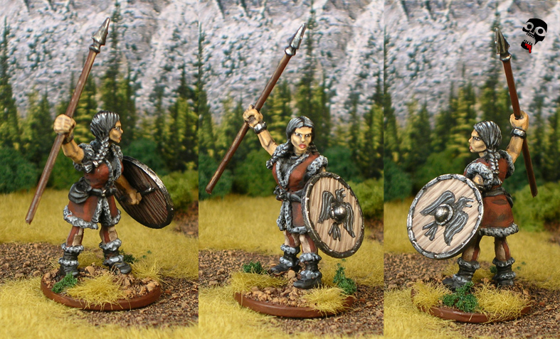 Sea Raider Shield Maiden from Foundry Miniatures painted by Neldoreth - An Hour of Wolves & Shattered Shields