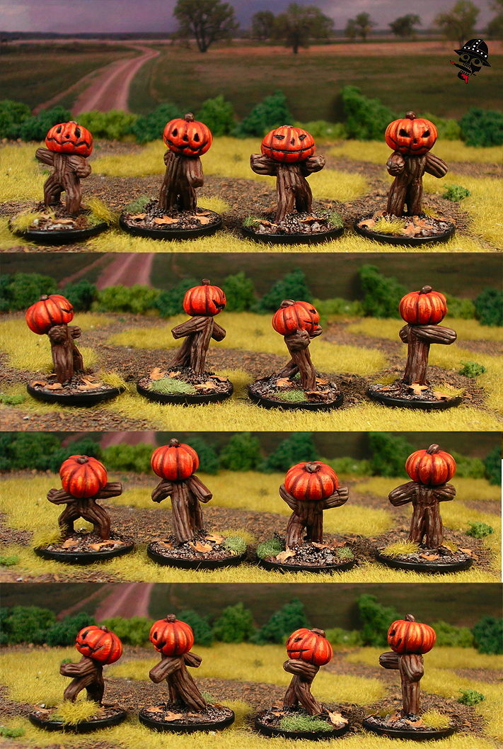 Pumpkin constructs playing undead rats from Sculpted by Neldoreth painted by Neldoreth - An Hour of Wolves & Shattered Shields