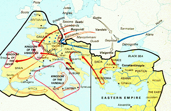 The Map of the Barbarian Invasion of Rome