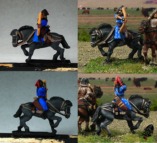 Work in progress of 15mm Navwar Mongol compared to final figure